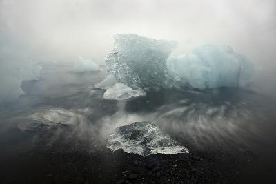 Icebergs on Black Sand Beach in Iceland-Raul Touzon-Photographic Print
