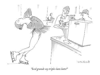 """Iced grande soy triple-lutz latte!"" - New Yorker Cartoon-Michael Crawford-Premium Giclee Print"