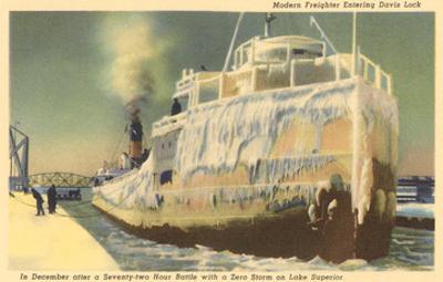 Iced Over Freighter, Davis Lock, Lake Superior, Michigan