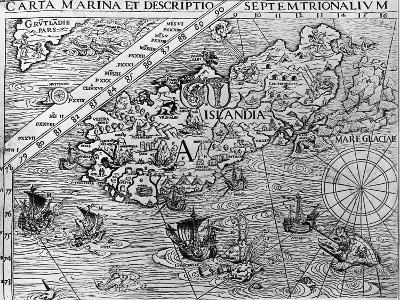 Iceland, Circa 1539, Detail from Carta Marina by Swedish Archbishop, Olaus Magnus (1490-1557)--Giclee Print