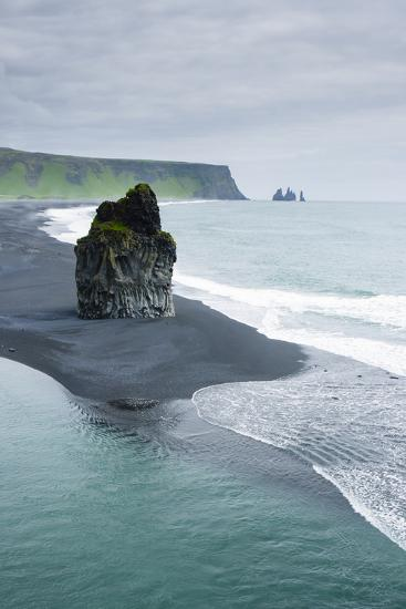 Iceland. Dyrholaey. Black Sand Beach and Sea Stack-Inger Hogstrom-Photographic Print
