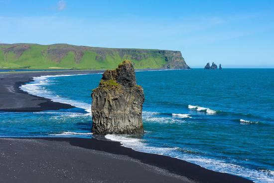 Iceland, Dyrholaey, in the Background the Pointed Rock Needles Reynisdrangar-Catharina Lux-Photographic Print