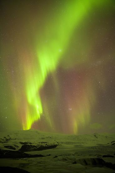 Iceland, Fjallsarlon. the Northern Lights Appearing in the Sky at Fjallsarlonll.-Katie Garrod-Photographic Print