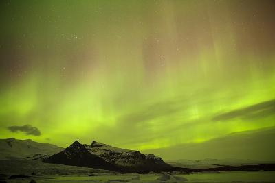 Iceland, Fjallsarlon. the Northern Lights Appearing in the Sky at Fjallsarlonll.-Katie Garrod-Photographic Print