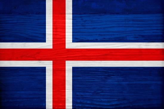 Iceland Flag Design with Wood Patterning - Flags of the World Series-Philippe Hugonnard-Art Print