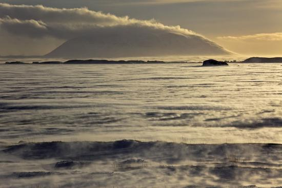 Iceland, Iceland, North-East, Region of Myvatn, View over the Icebound Lake Myvatn-Bernd Rommelt-Photographic Print