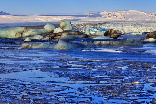 Iceland, Iceland, the South, Breidamerkurjökull, Glacier Ice in the Glacier Lagoon Jökulsarlon-Bernd Rommelt-Photographic Print