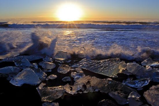 Iceland, Iceland, the South, Jökulsarlon, Breidamerkurjökull, Ice in the Breidamerkursandur-Bernd Rommelt-Photographic Print