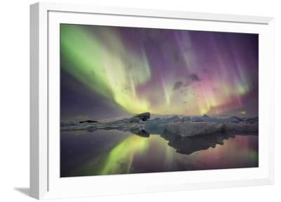 Iceland, Jokulsarlon. Aurora lights reflect in lagoon.-Josh Anon-Framed Photographic Print