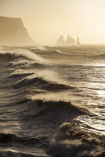 Iceland, Reynisfjara. Waves Breaking on Reynisfjara Beach-Katie Garrod-Photographic Print