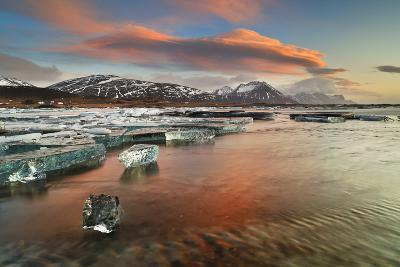 Iceland, South Iceland, Jokulsarlon, Ice on the Lagoon Reflecting the Colours of Dawn-Fortunato Gatto-Photographic Print