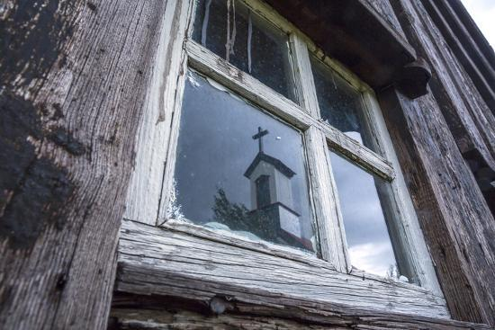 Iceland, Southern Land, Church Reflected in a House Window-Gavriel Jecan-Photographic Print
