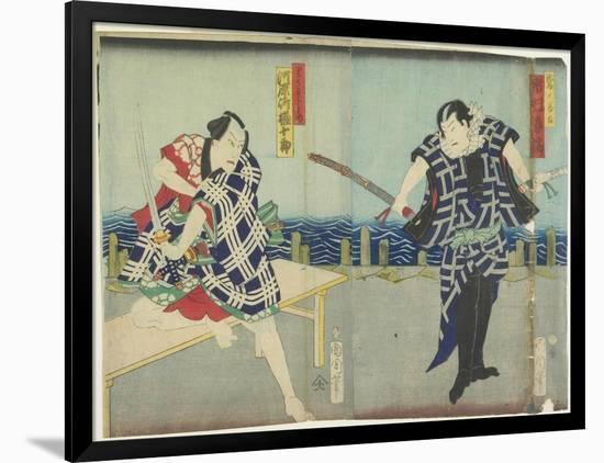 Ichimura Kakitsu I as Chokichi, Kawarasaki Gonjuro I as a Gallant, January 1866-Toyohara Kunichika-Framed Giclee Print