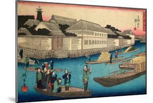Ferry Boat at Yosnida, in Sumida-Gawa - 1840 by Ichinisai Hiroshige