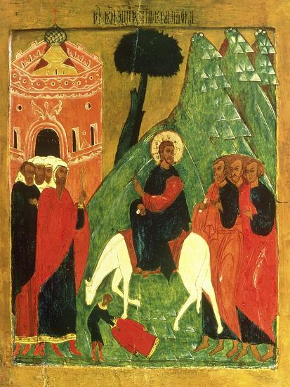 Icon Depicting Christ's Entry into Jerusalem--Giclee Print