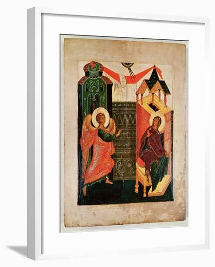Icon Depicting the Annunciation, Novgorod School (Oil on Panel)-Russian-Framed Giclee Print