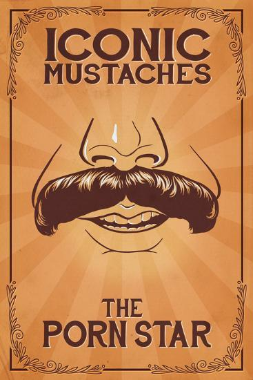 Iconic Mustaches - Porn Star-Lantern Press-Art Print