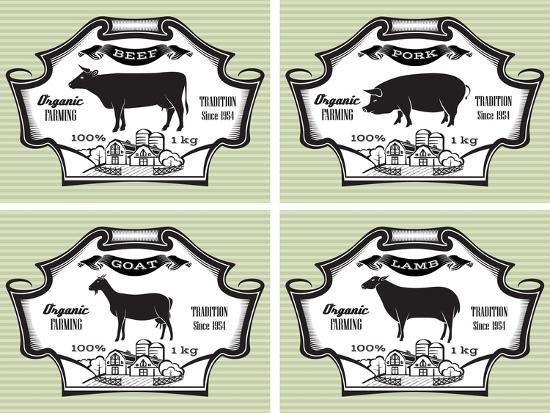 Icons Pig, Cow, Sheep, Goat-111chemodan111-Art Print