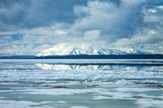 Icy Summer Landscape at Yellowstone Lake, Wyoming-Vincent James-Photographic Print