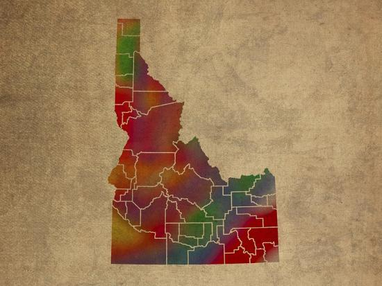 ID Colorful Counties-Red Atlas Designs-Giclee Print