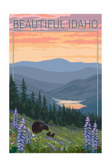 Idaho - Bear and Spring Flowers-Lantern Press-Art Print