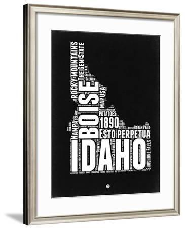 Idaho Black and White Map-NaxArt-Framed Art Print