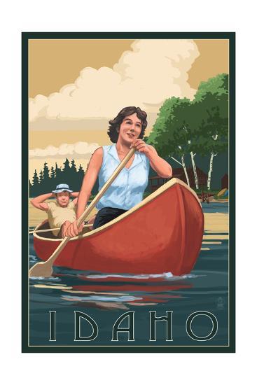 Idaho - Canoers on Lake-Lantern Press-Art Print