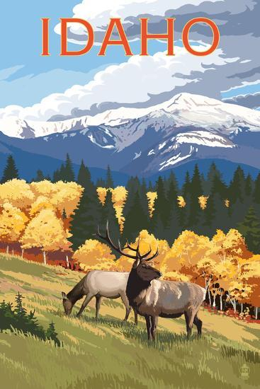 Idaho - Elk and Mountains-Lantern Press-Wall Mural