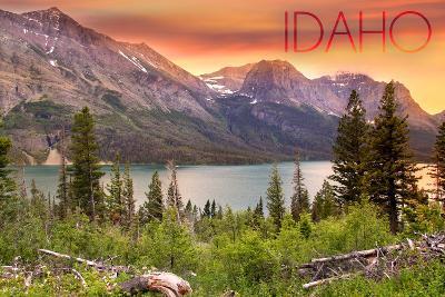 Idaho - Lake and Peaks at Sunset-Lantern Press-Wall Mural