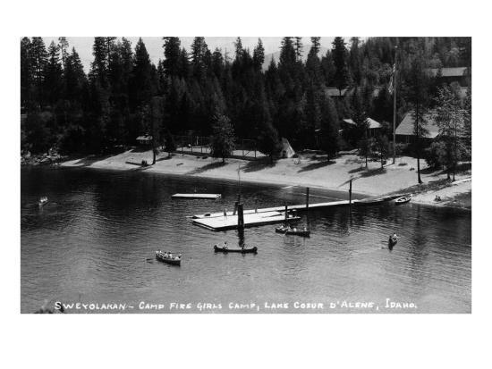 Idaho - Lake Coeur d'Alene; Camp Sweyolakan-Lantern Press-Art Print