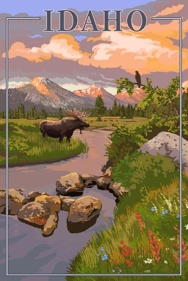 Idaho - Moose and Sunset-Lantern Press-Art Print
