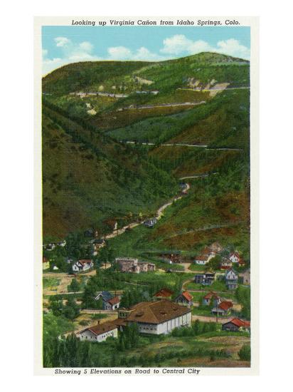 Idaho Springs, Colorado, Looking Up Virginia Canyon showing Road to Central City-Lantern Press-Art Print