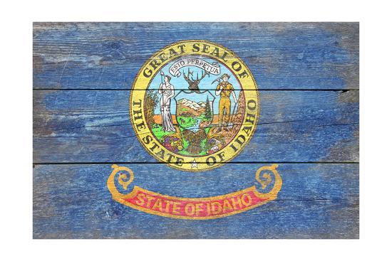 Idaho State Flag - Barnwood Painting-Lantern Press-Art Print