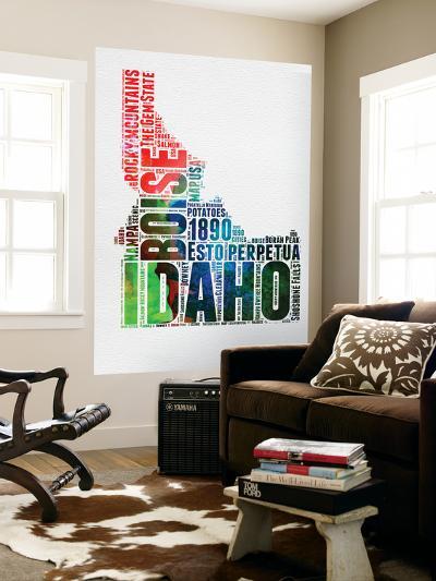 Idaho Watercolor Word Cloud-NaxArt-Wall Mural