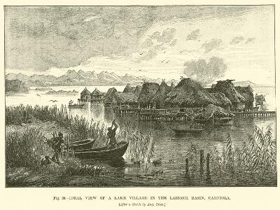 Ideal View of a Lake Village in the Laibach Basin, Carniola--Giclee Print