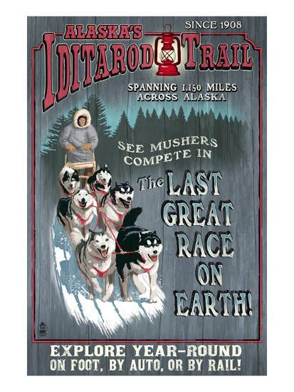 Iditarod Trail - Alaska-Lantern Press-Art Print