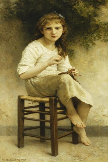 Idle Thoughts (Little Girl Sitting Embroidering); Vaines Pensees (Petite Fille Assise Brodant),…-William Adolphe Bouguereau-Giclee Print