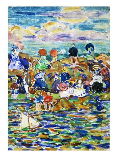 Idlers on the Beach-Maurice Brazil Prendergast-Giclee Print