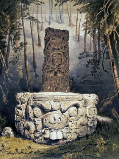 Idol and Altar at Copan-Frederick Catherwood-Giclee Print