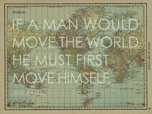 If a Man Would Move the World (Socrates) - 1913, World Map