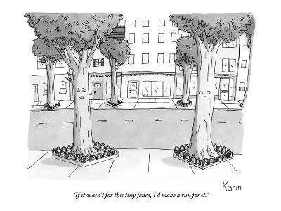 """If it wasn't for this tiny fence, I'd make a run for it."" - New Yorker Cartoon-Zachary Kanin-Premium Giclee Print"