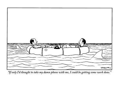 """If only I'd thought to take my damn phone with me, I could be getting som?"" - New Yorker Cartoon-Alex Gregory-Premium Giclee Print"