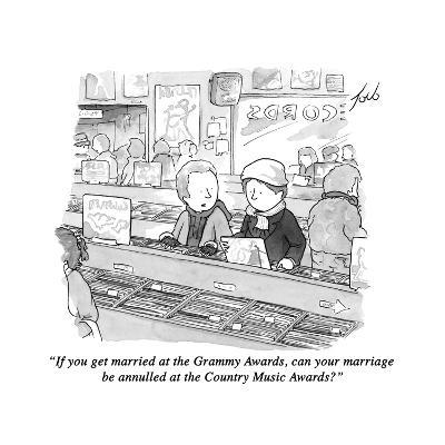 """""""If you get married at the Grammy Awards, can your marriage be annulled at?"""" - New Yorker Cartoon-Tom Toro-Premium Giclee Print"""