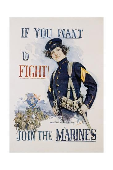 If You Want to Fight! Join the Marines Poster-Howard Chandler Christy-Giclee Print
