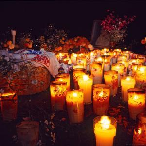 The Day of All Saints (Dia de Todos los Santos) Graves Adorned with Flowers, Michoacan, Mexico by Igal Judisman
