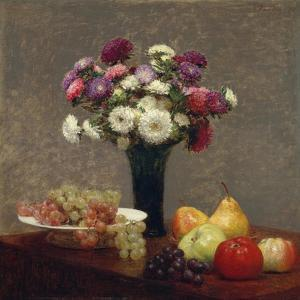 Asters and Fruit on a Table, 1863 by Ignace Henri Jean Fantin-Latour