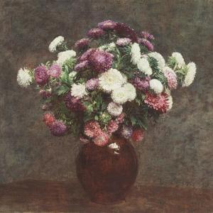 Asters in a Vase, 1875 by Ignace Henri Jean Fantin-Latour