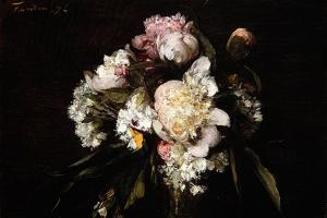Peonies, White Carnations and Roses, 1874 by Ignace Henri Jean Fantin-Latour