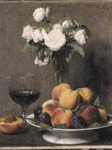 Still Life with Roses, Fruit and a Glass of Wine, 1872 by Ignace Henri Jean Fantin-Latour