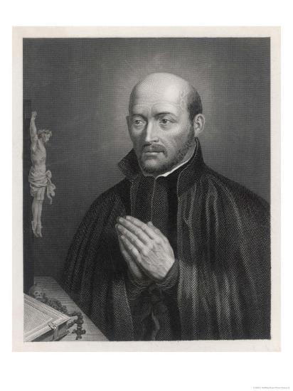Ignatius Loyola Spanish Saint Founder of Society of Jesus (Jesuits) in an Attitude of Prayer-C. Holl-Giclee Print